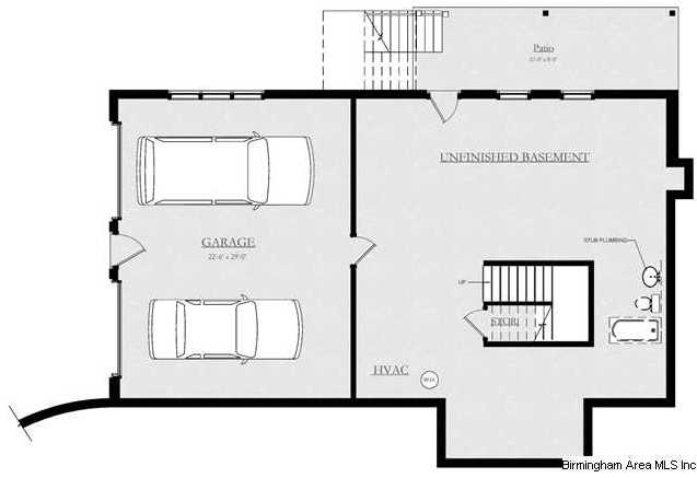 Not shown on this plan but there is a 3 car garage in the House plans with garage in basement