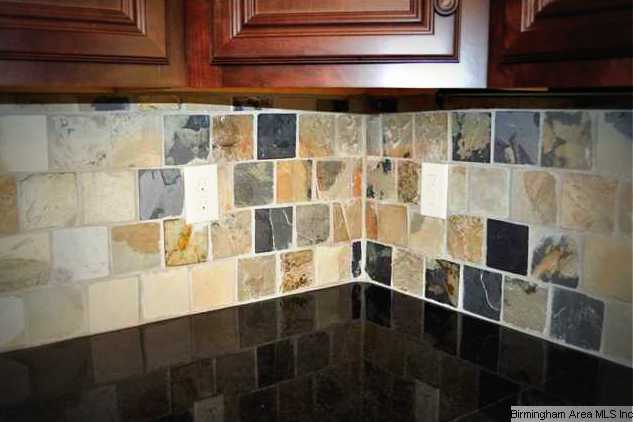 slate backsplash granite tops and beautiful stained cabinets round