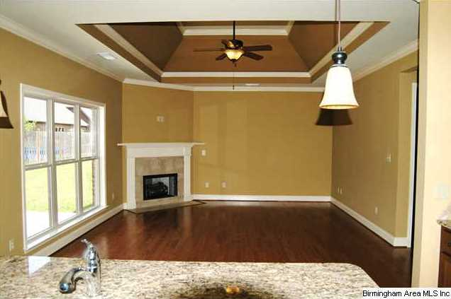 This very open plan has a vaulted tray ceiling and ...