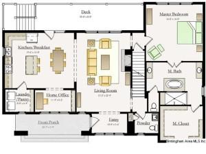 very open floorplan has master on main huge bath and