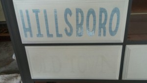 dresser drawer with lettering stencils before paint